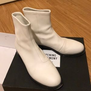 Opening Ceremony White Leather Ankle Sock Boots